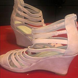 Blush wedge sandals